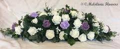 purple, victorian lilac & ivory top table flowers - foam flowers