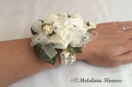 ivory wrist corsage with elasticated bracelet - foam flowers