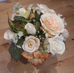 peach & ivory bouquet/table arrangement - silk flowers