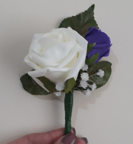 white & purple buttonhole/corsage - foam flowers