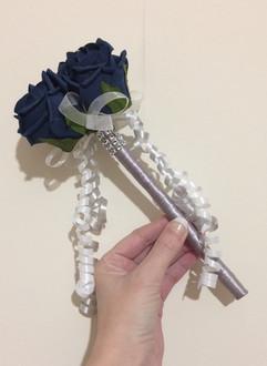 purple & silver flower girl wand - foam flowers