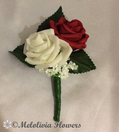 ivory & red buttonhole/corsage - foam flowers