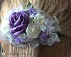 lilac & ivory hair clip - foam flowers