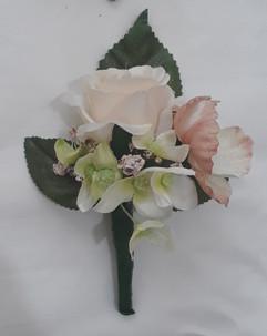 peach buttonhole/corsage - silk flowers