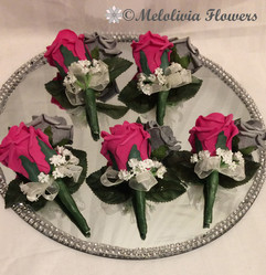 hot pink, silver & ivory buttonholes/corsages - foam flowers