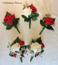 red & ivory buttonholes/corsages - foam flowers