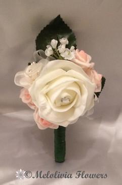 ivory & pink buttonhole/corsage - foam flowers