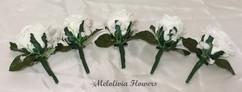 ivory buttonholes/corsages - foam flowers