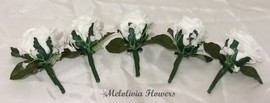 ivory buttonholes/corsages - foam flowers