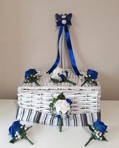 blue & white flower girl metal wand - foam flowers