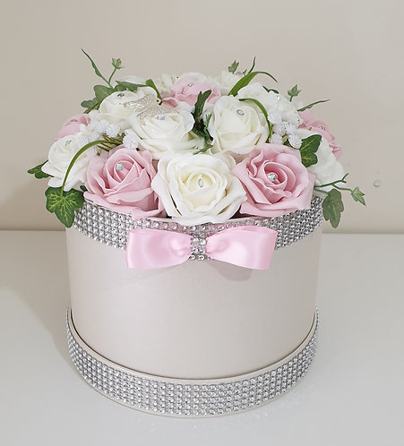 Large hat box with artificial foam roses