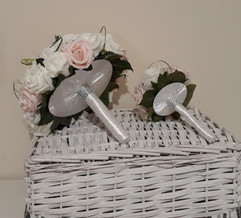 pink & ivory bouquets with ribbon undersides - foam flowers