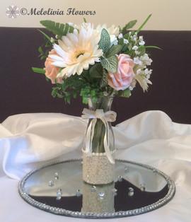 peach flowers in vase - foam and silk flowers