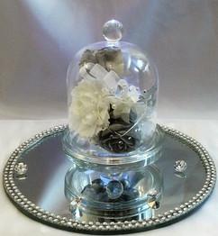 ivory & silver flowers in bell jar - foam flowers