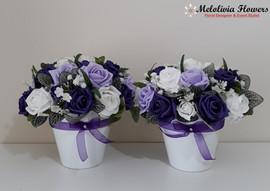 lilac & purple flowers in pots - foam flowers