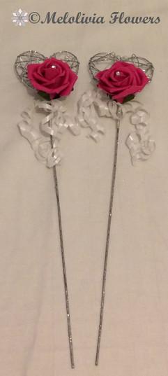 hot pink & ivory flower girl metal wand - foam flowers