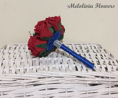 red bouquet posy with blue ribbon - foam flowers