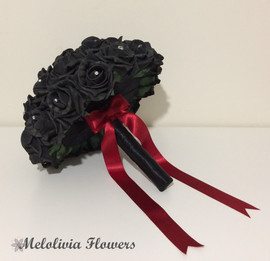 black bouquet with red ribbon - foam flowers