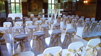 White and hessian rustic themed ceremony room