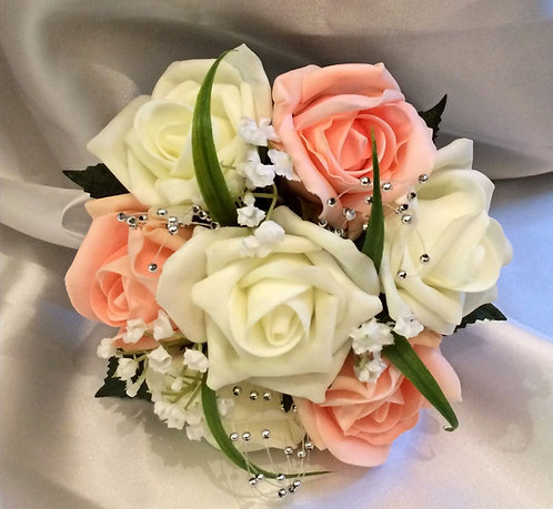 """Artificial posy bouquet with roses and embellishments (6"""" wide)"""