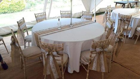 Hessian themed marquee wedding