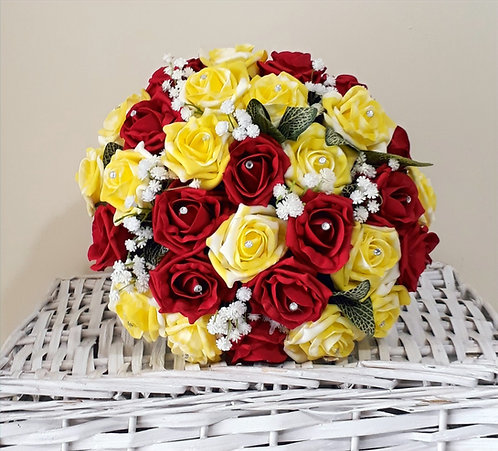 """Artificial bouquet with roses, gypsophila and diamante gems (10"""")"""