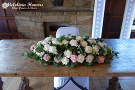 pink & ivory top table flowers - foam flowers