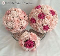 pink bouquet - foam flowers