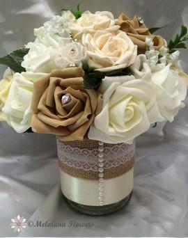ivory & coffee arrangement in hessian jar - foam flowers