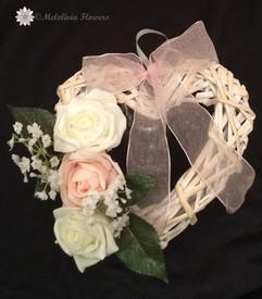 pink & ivory hanging wooden heart - foam flowers