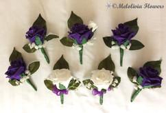 purple & ivory buttonholes/corsages - foam flowers