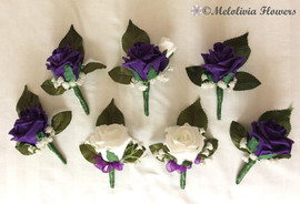 purple & ivory buttonholes/corsages - foam flowers