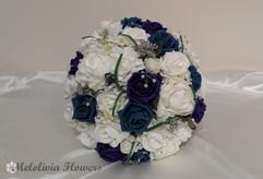 teal, purple & ivory bouquet - foam flowers