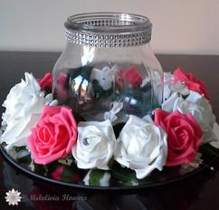 coral & white vase flower ring - foam flowers