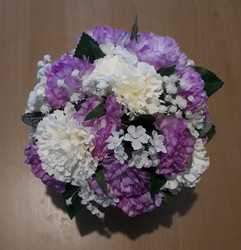 purple & ivory bouquet/table arrangement - silk flowers