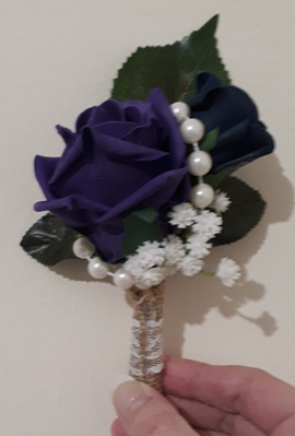 purple & hessian buttonhole/corsage - foam flowers