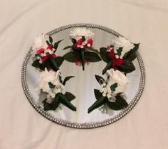 white buttonholes/corsages - foam flowers