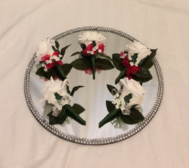 white buttonholes/corsages - foam flowers