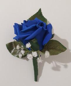 royal blue buttonhole/corsage - foam flowers