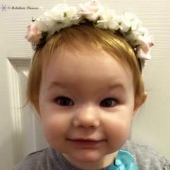 pink & white headband - foam flowers