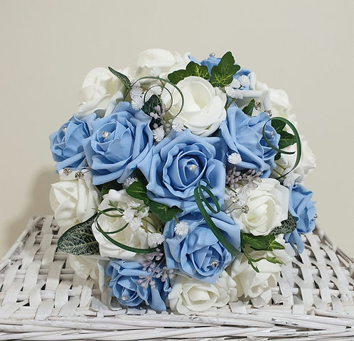 """Artificial bouquet with mixed foam roses, greenery and embellishments (8"""" wide)"""