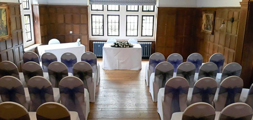White, silver and lilac ceremony room