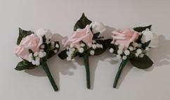 pink & white double buttonholes/corsages - foam flowers