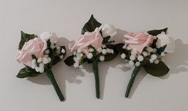 pink & white double buttonholes/corsages - foam flowers