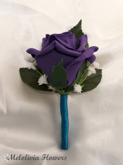 purple buttonhole/corsage with teal ribbon - foam flowers