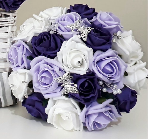 """Artificial bouquet with roses, embellishments and butterflies (8"""" wide)"""