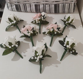 pink & white buttonholes/corsages - foam flowers