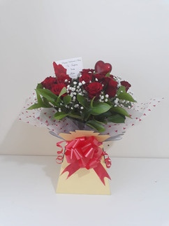 Red rose & gyp box bouquet - fresh flowers