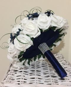 blue & white bouquet with ribbon underside  - foam flowers