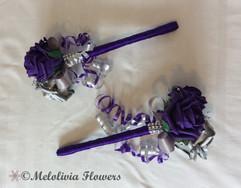 purple & silver flower girl wands - foam flowers